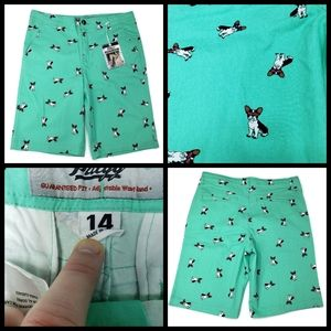 New Plugg stretch shorts, size 14, pugg print, str